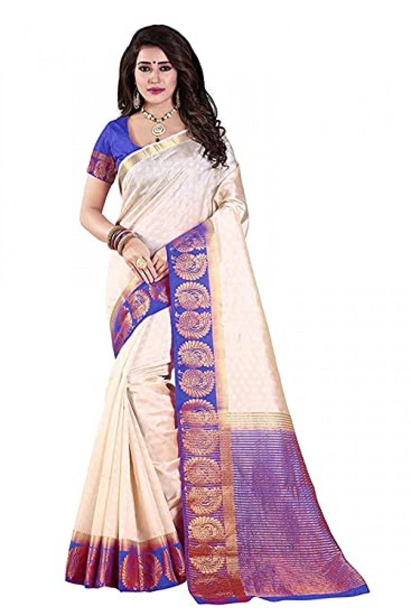 cream colour silk Saree