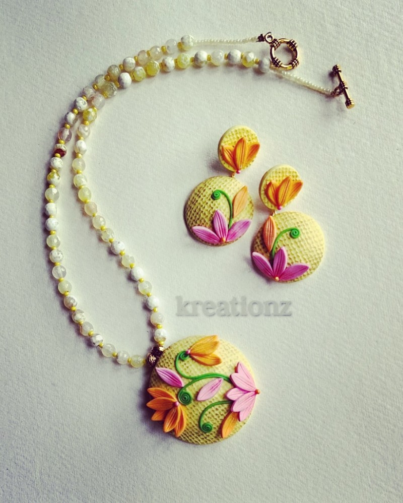 Floral Yellow Polymerclay Jewellery