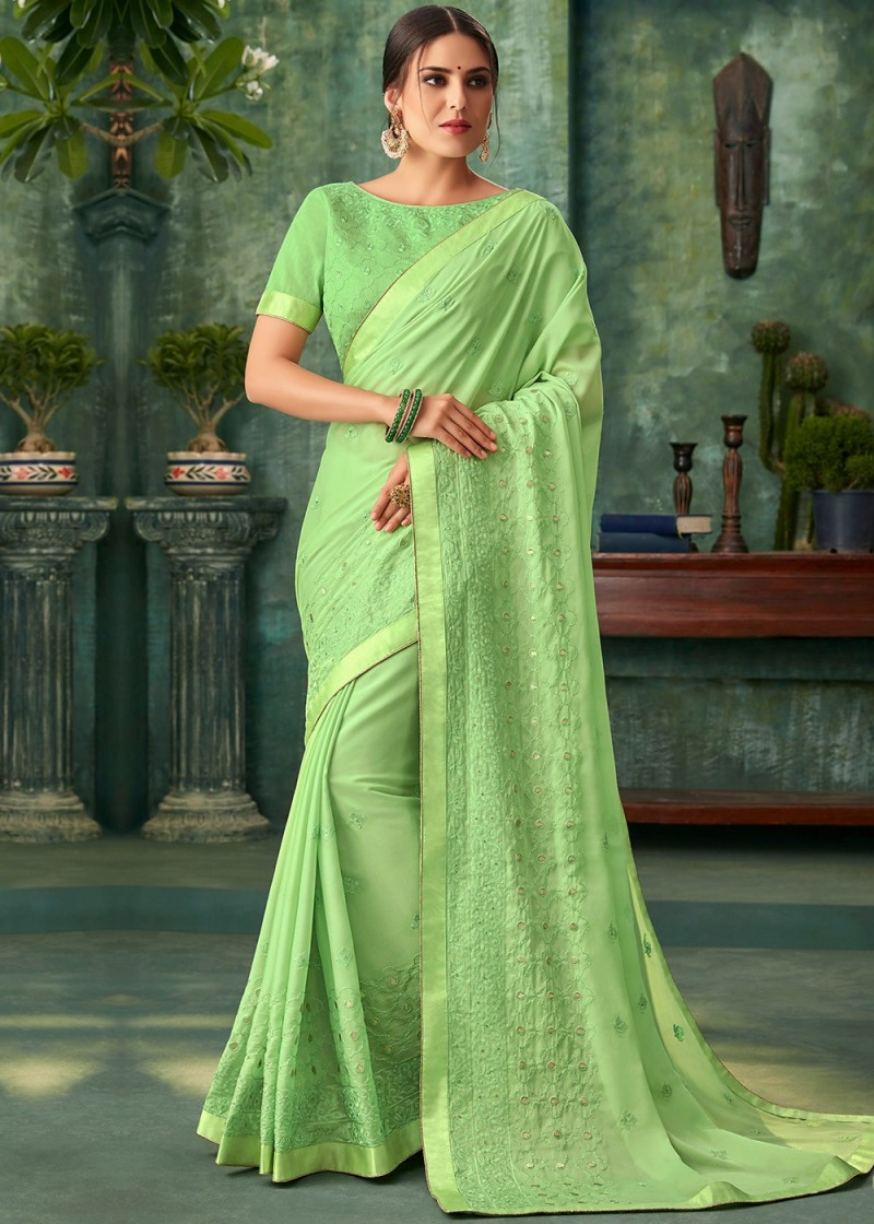 Green colour silk Saree