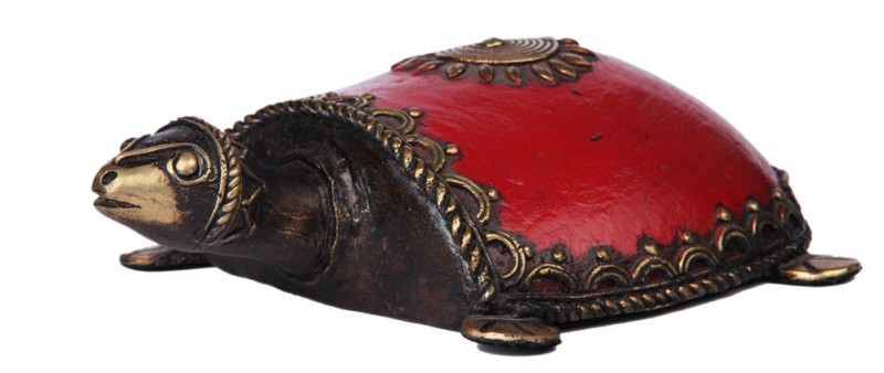 Tribal Art Dhokra Turtle with Red Enamel