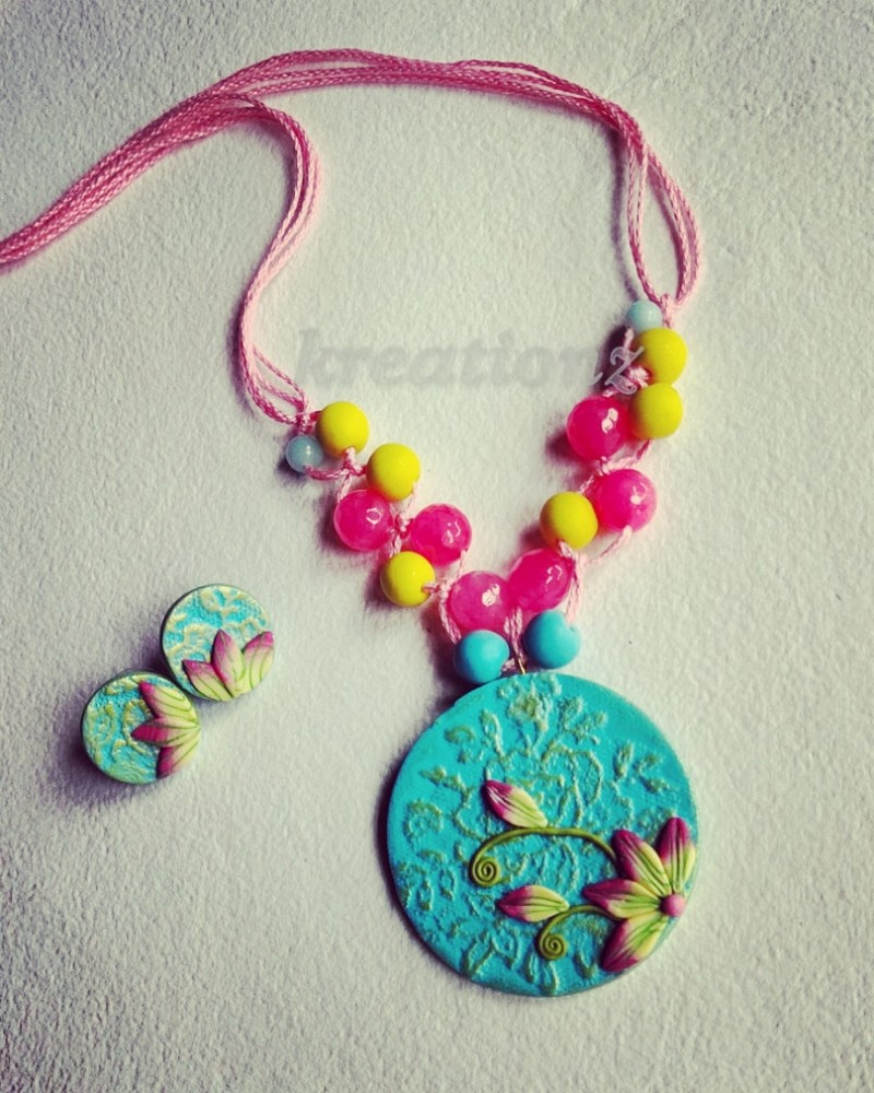 Sky Blue with Pink Polymerclay Jewellery