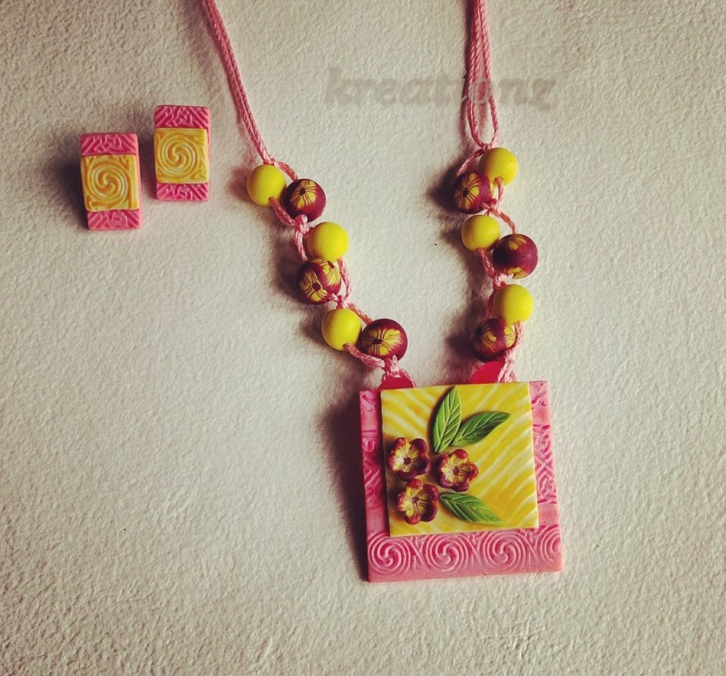 A pink and lemon yellow Polymerclay Jewellery