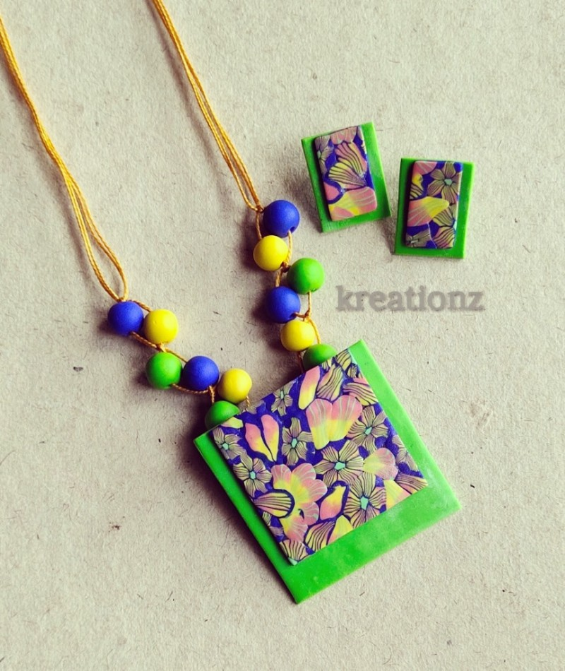 Blue with Green Polymer Clay jewellery
